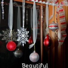 Hanging ornament christmas window treatment