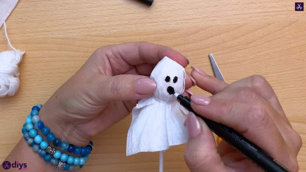 How to make a lollipop ghost for halloween diy add mark