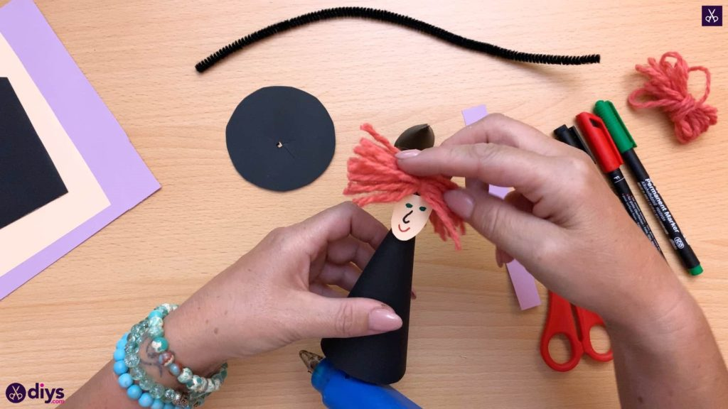 How to make a paper cone witch for halloween craft