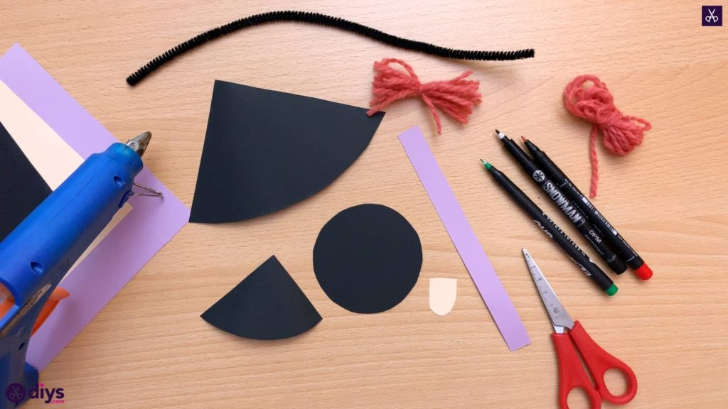 How to make a paper cone witch for halloween step 7