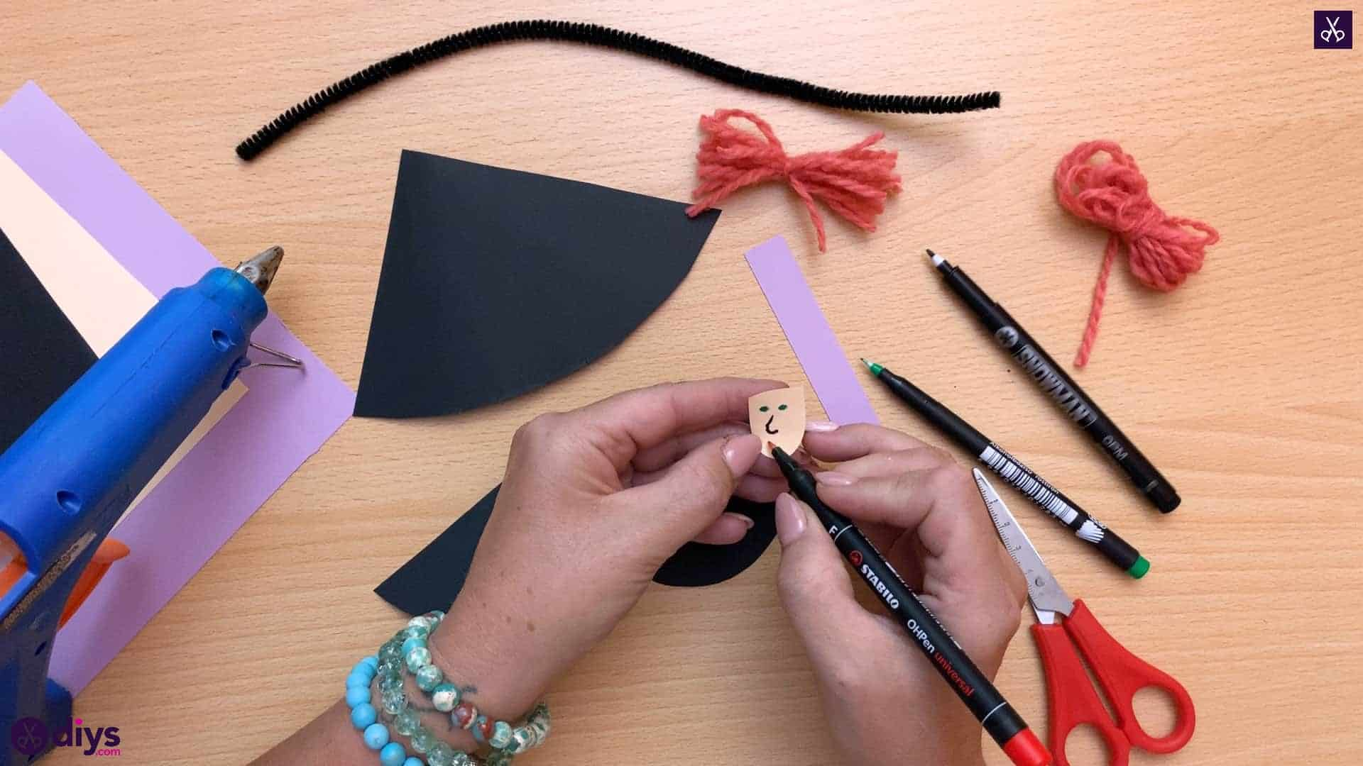 How to make a paper cone witch for halloween step 8