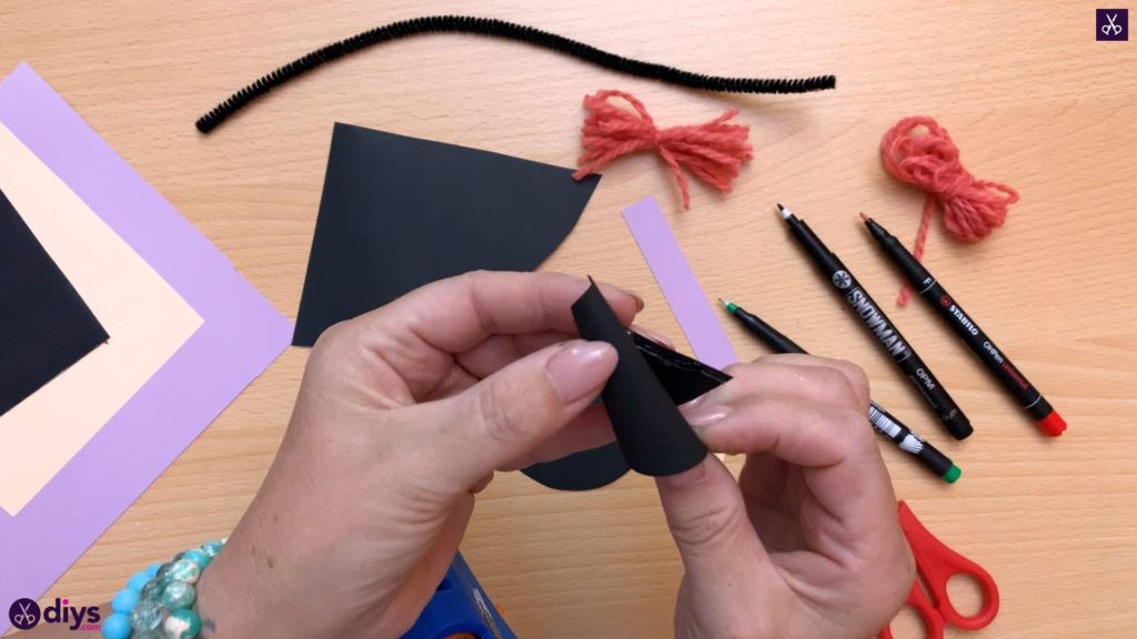 How to make a paper cone witch for halloween step 9