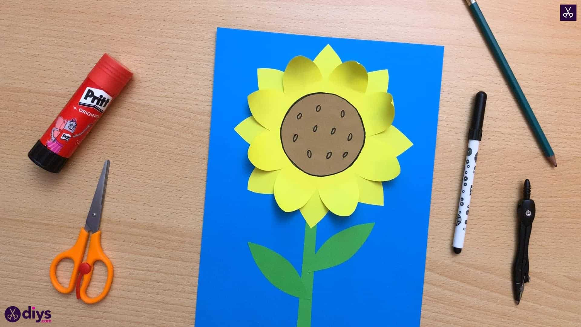 How to make a paper sunflower kids craft