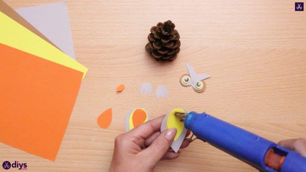 How to make a pinecone owl glue process