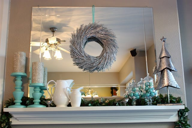 Icy mint and silver mantel
