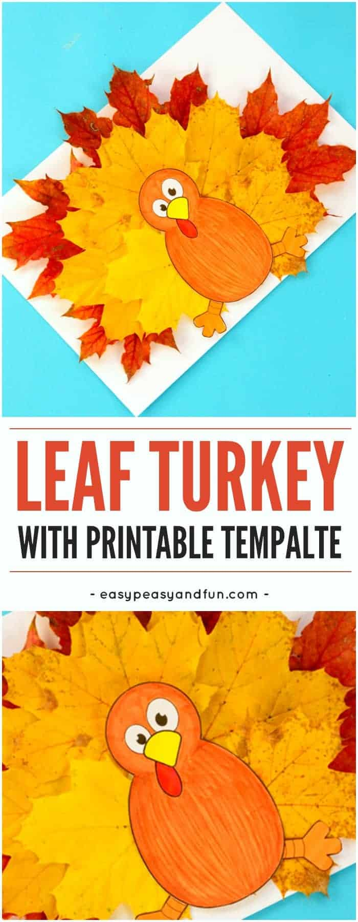 Layered leaf turkey craft