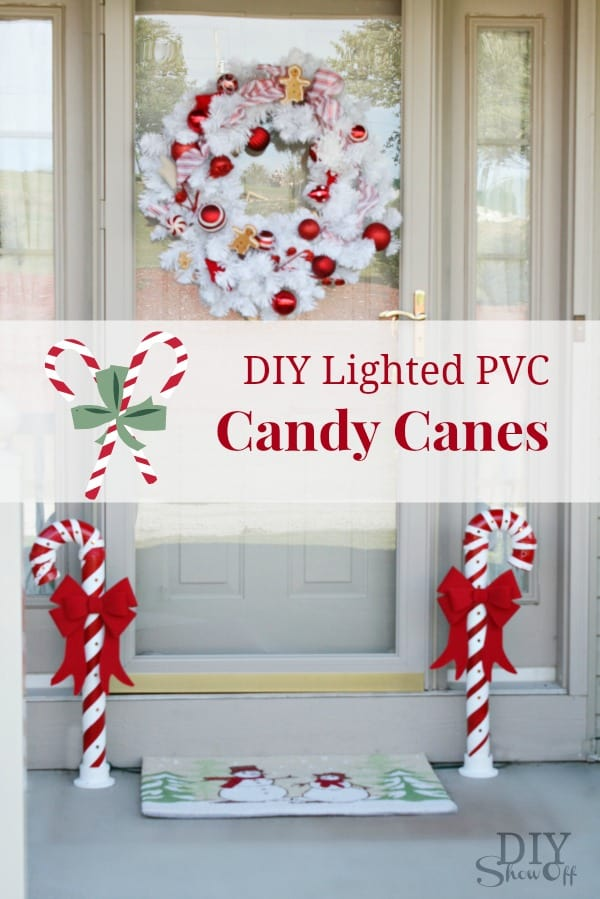 Lighted pvc candy canes