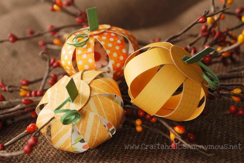 Mini paper pumpkins