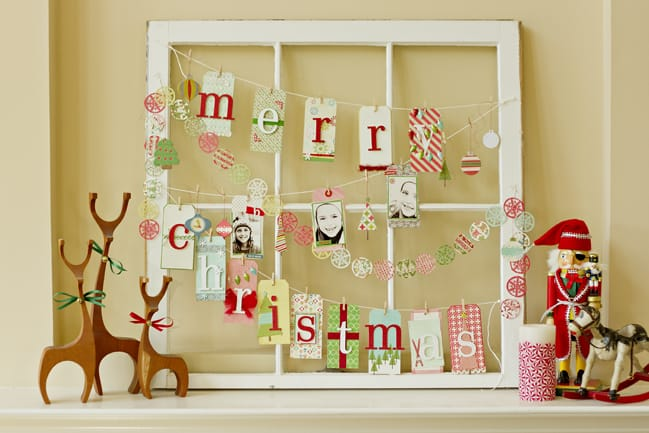 Old window frame paper christmas bunting decor piece