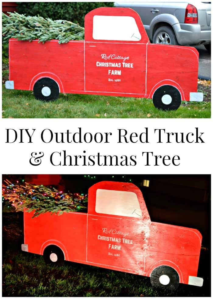 Outdoor red truck and christmas tree