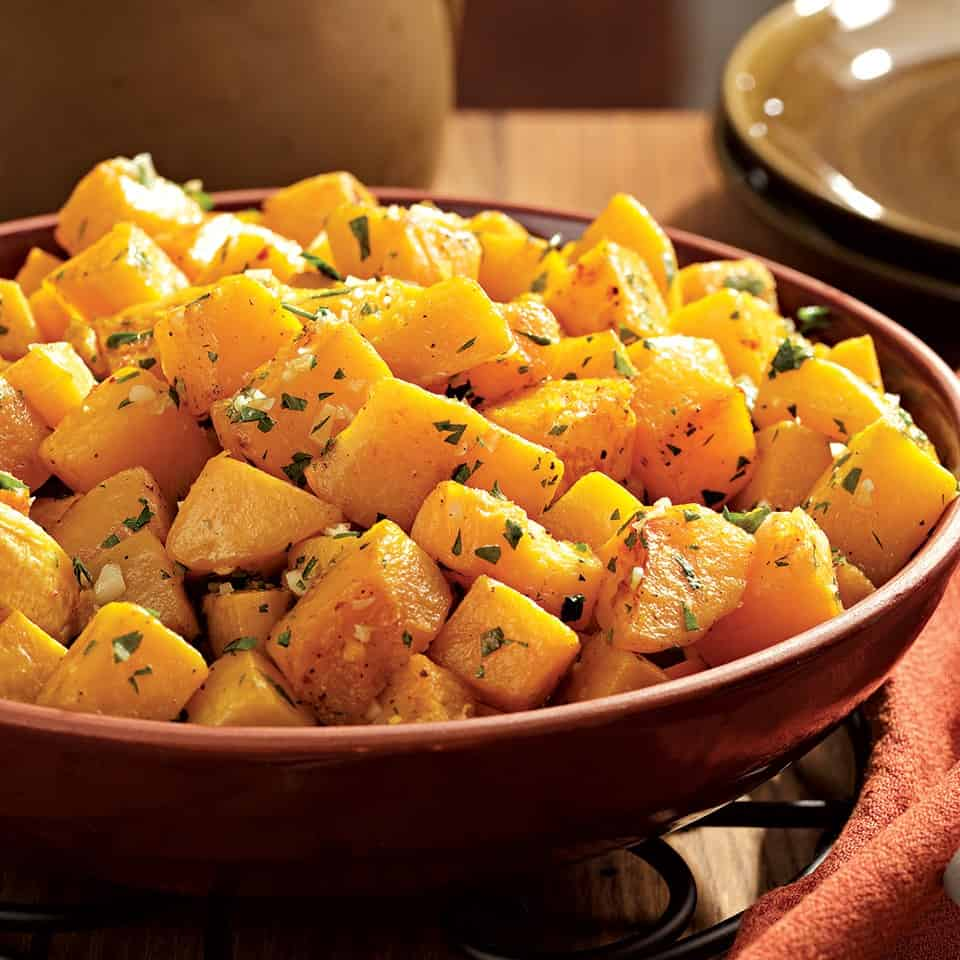 Oven roasted squash with garlic and parsley