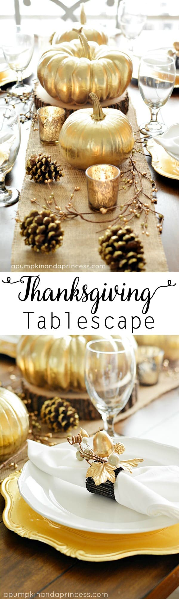 Painted gold thanksgiving tablescape
