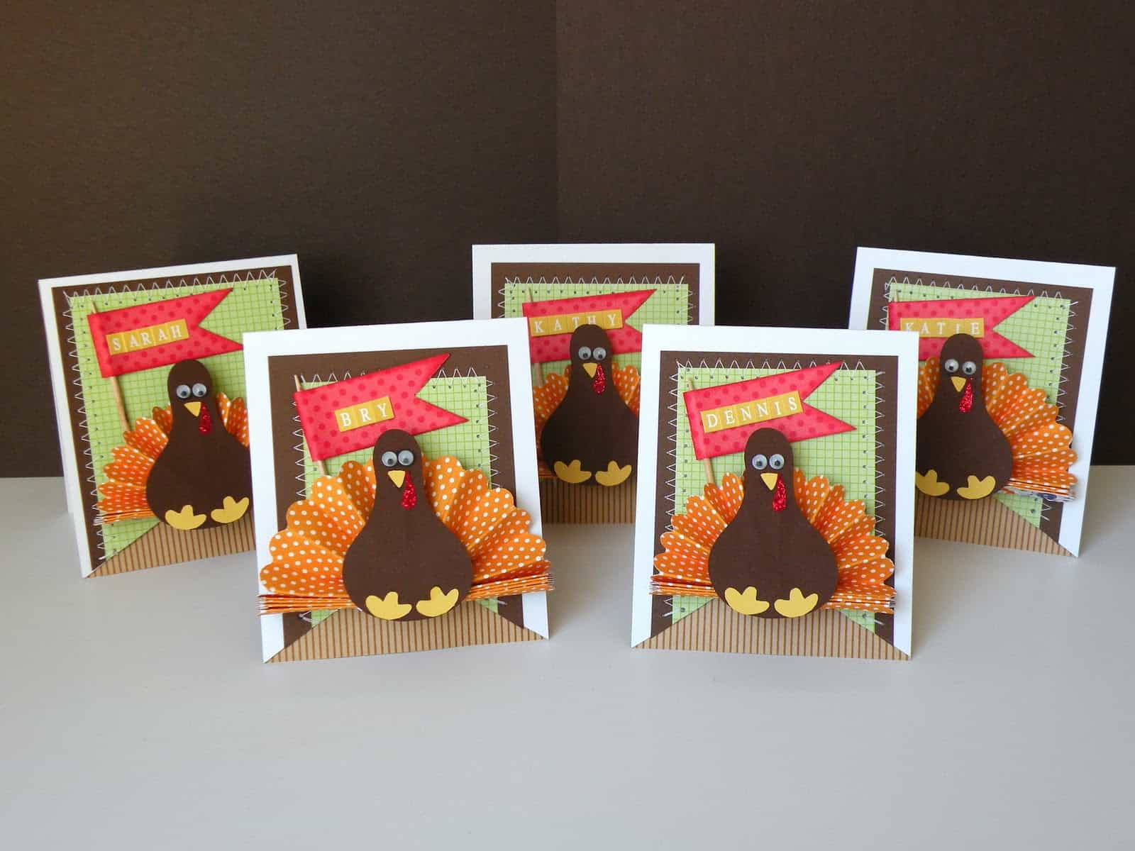 Paper crafted turkey place cards
