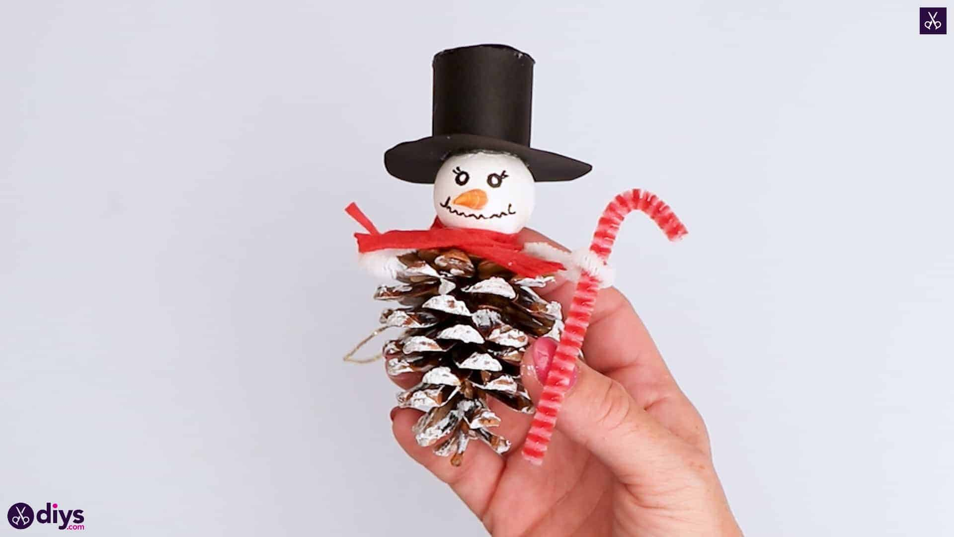 Pinecone snowman christmas ornaments