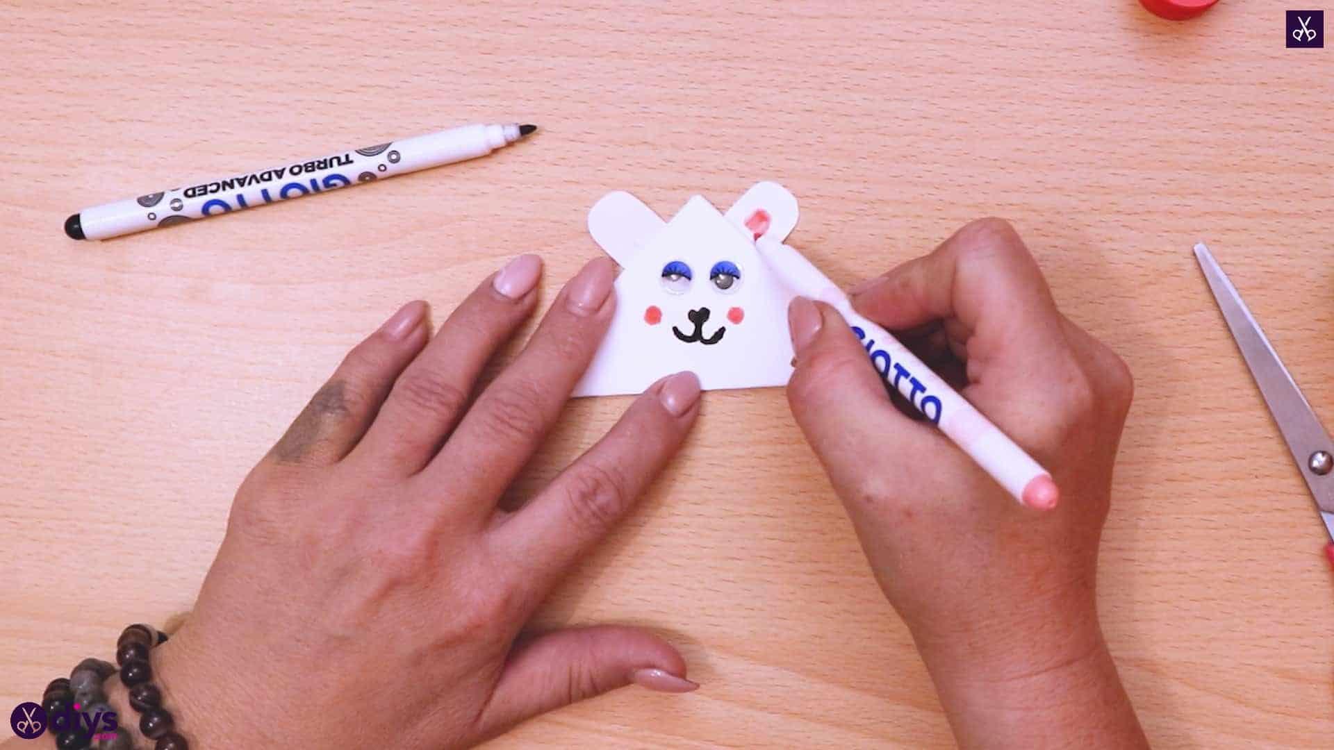 Polar bear corner bookmark paint