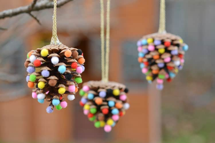Pom pom pinecone christmas ornaments