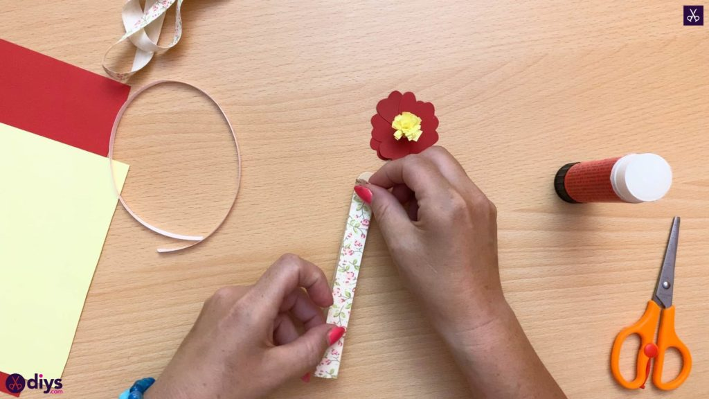Popsicle stick flower bookmark attach fabric