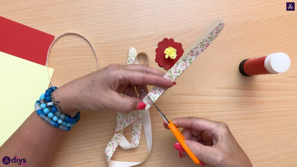 Popsicle stick flower bookmark fabric