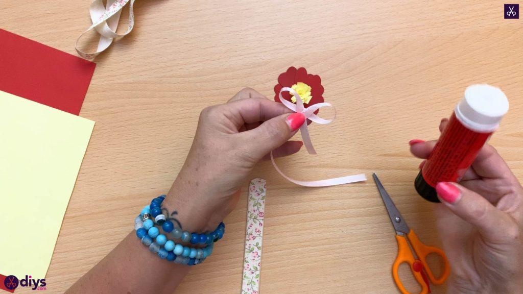 Popsicle stick flower bookmark ribbon bow