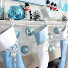 Pretty light blue mantel