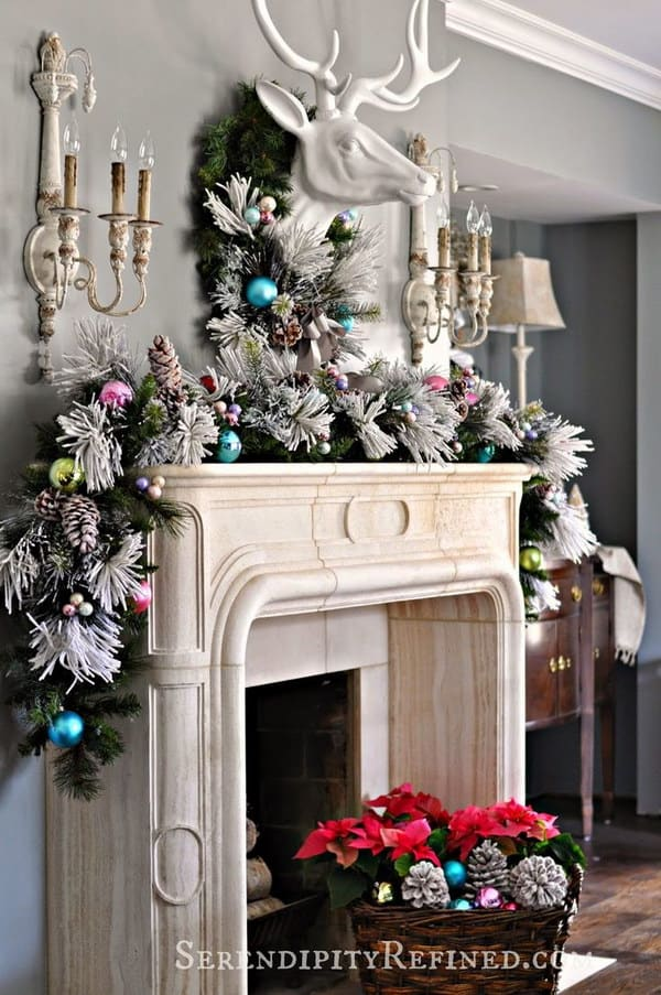 Pretty pastel christmas mantel