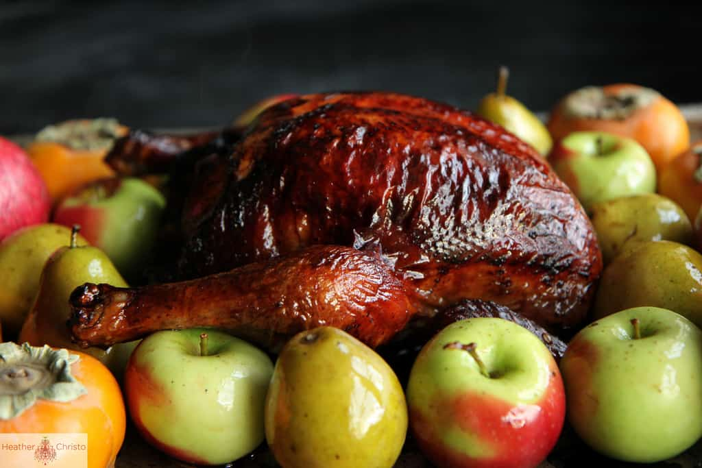 Red wine lacquered turkey with spiced butter