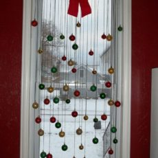 Ribbon and hanging glass balls window