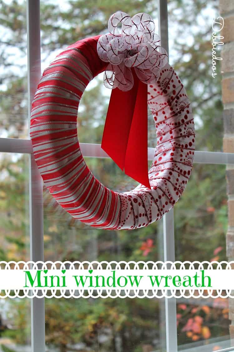 Ribbon wrapped mini window wreath