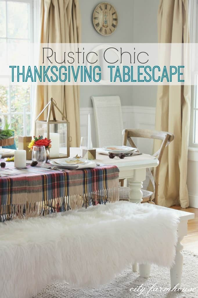 Rustic chic thanksgiving tablescape