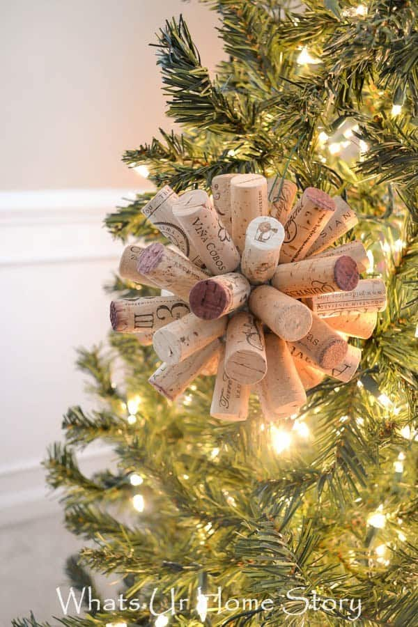 Rustic cork ball ornament