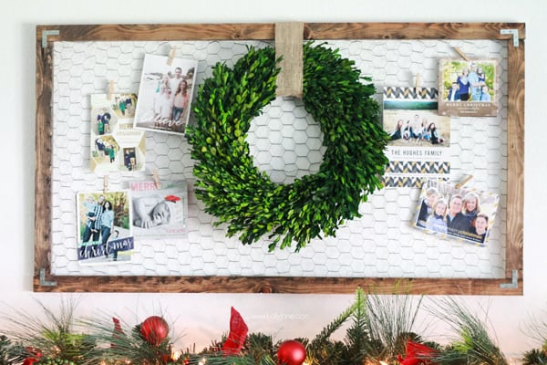 Rustic holiday card hanger
