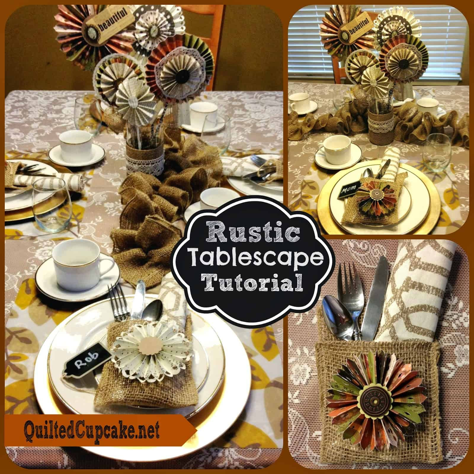 Rustic paper fan and burlap pockets tablescape