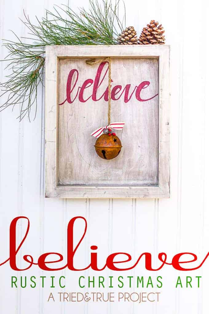 Rustic text and bell christmas art