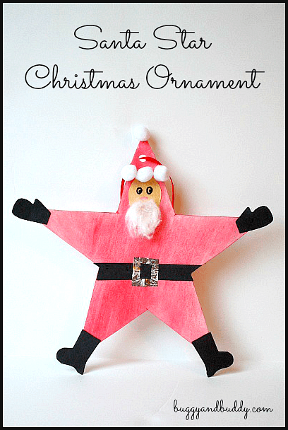Santa star christmas ornament