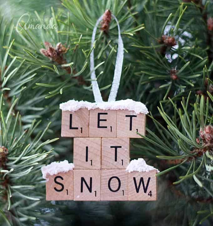 Scrabble tile lettered ornaments