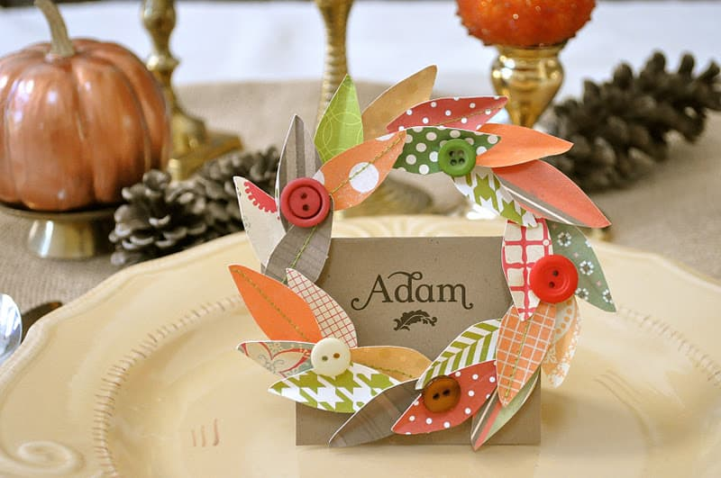 Sewn fall leaf thanksgiving place cards