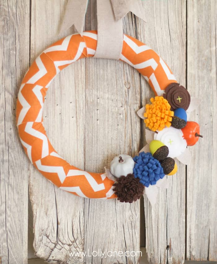 Simple fabric and felt autumn wreath