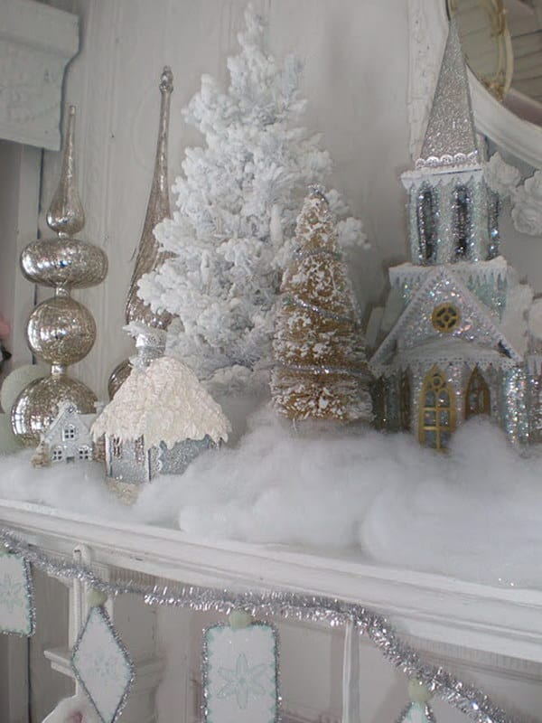 Sparkling white vintage christmas mantel