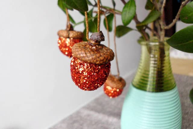 Sparkly acorn ornaments