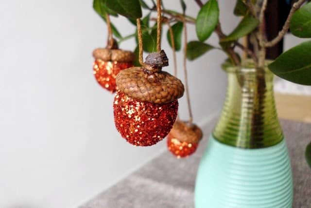 Sparkly acorn ornaments