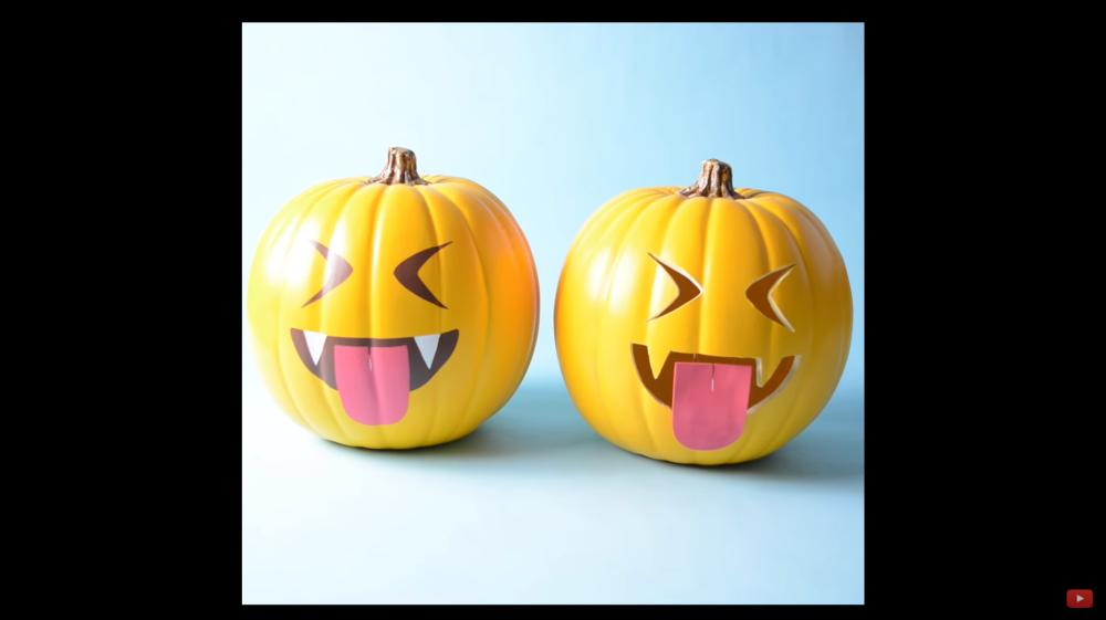 Stenciled vampire emoji halloween pumpkin painting