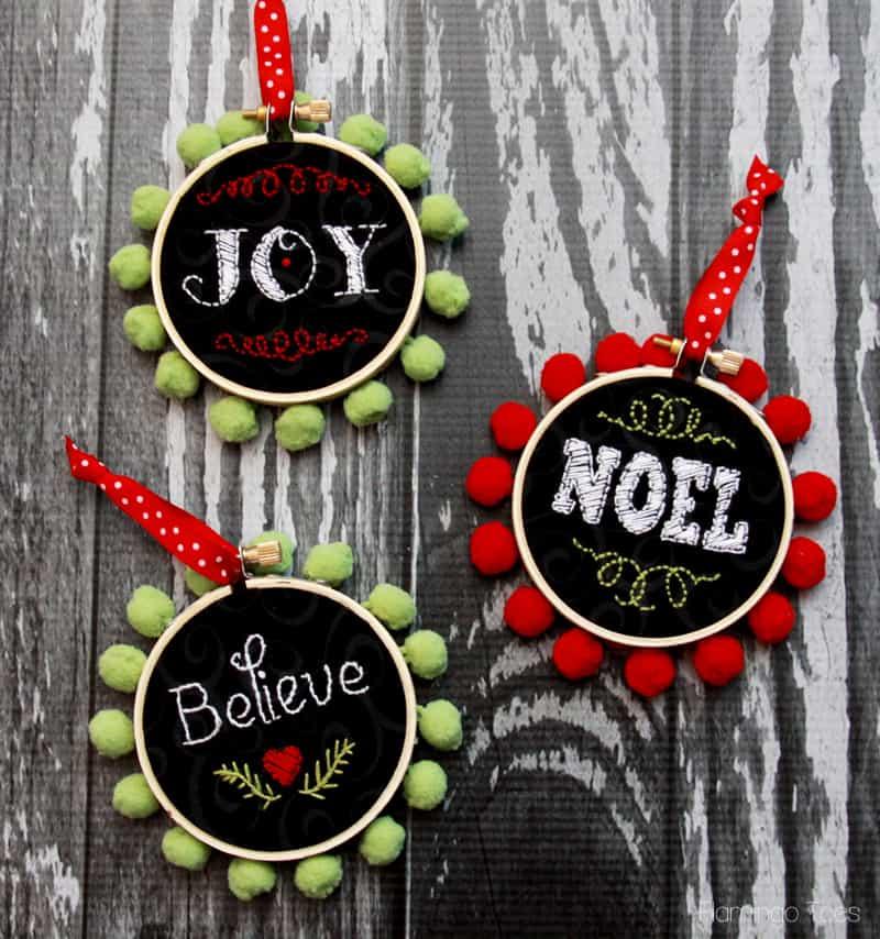 Stitch faux chalk ornaments