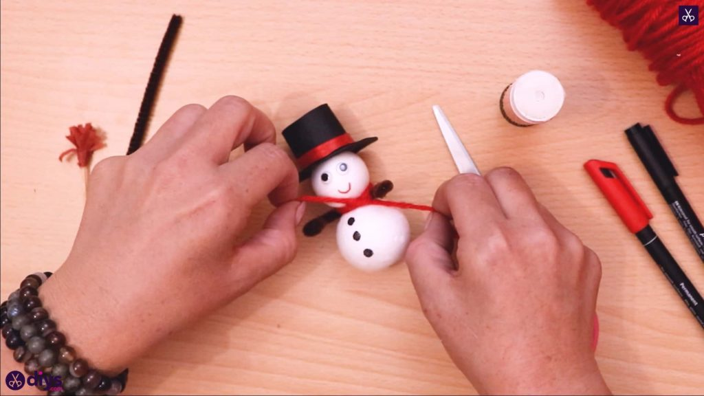 Styrofoam snowman scarf