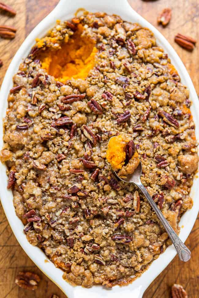 Sweet potato casserole with butter pecan crumble topping