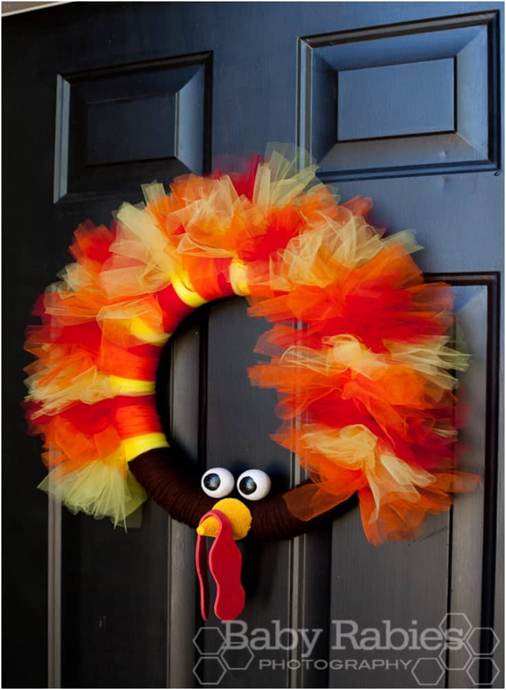 Thom the turkey tulle wreath