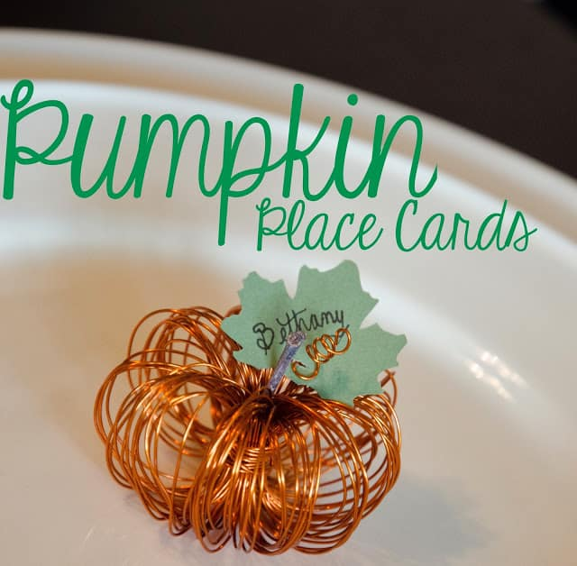 Tiny wire pumpkin place cards