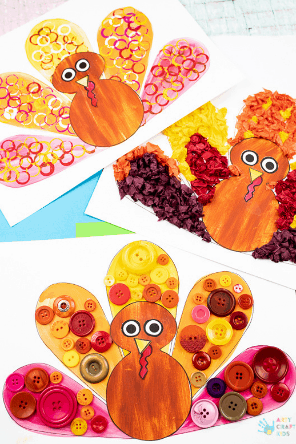 Tissue paper and button turkey paintings