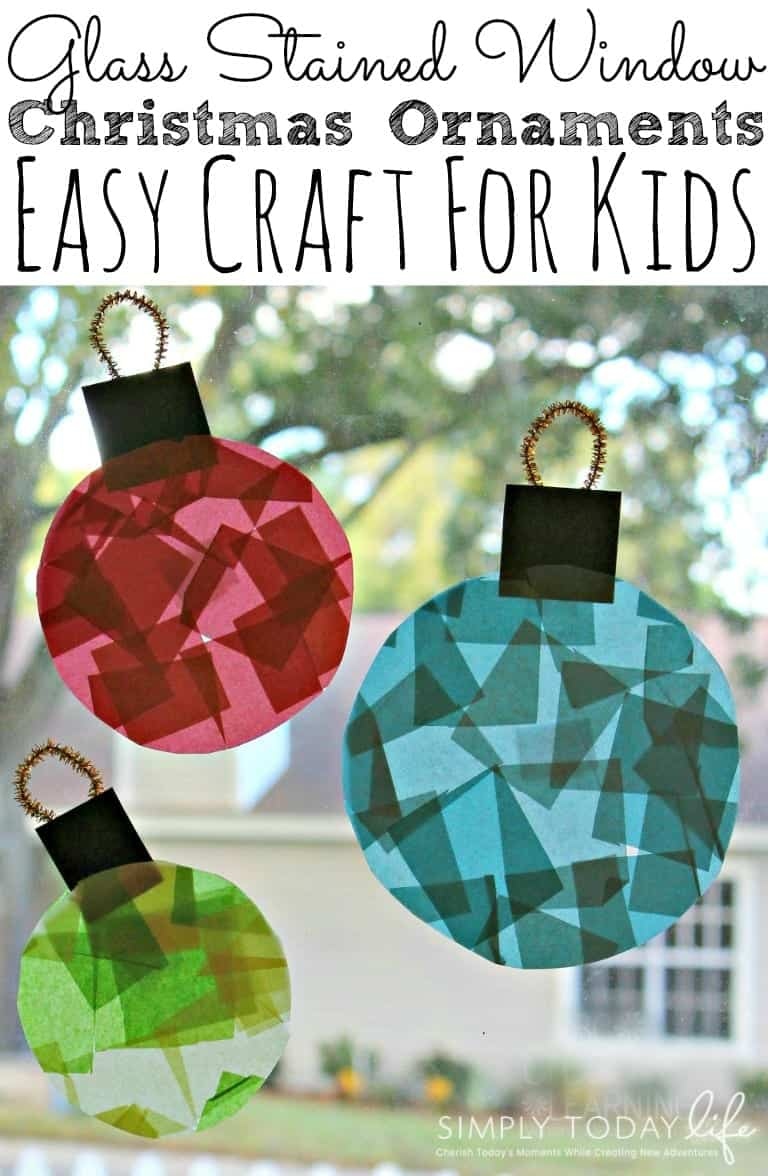 Tissue paper stained glass window ornaments