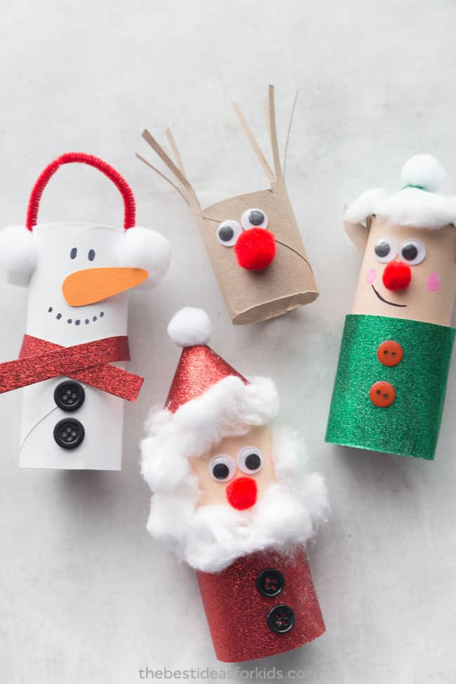 Toilet paper roll christmas characters