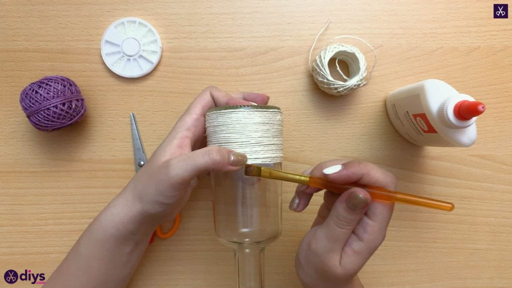 Twine wrapped bottle attach glue
